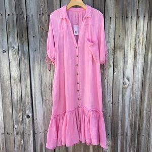 NWT Free People Maya Midi Shirt Dress Pink XL
